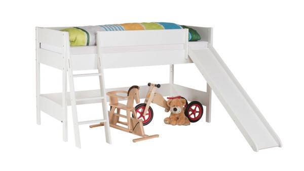 Spielbett erhöht (100 cm) mit Schrägleiter und Rutsche